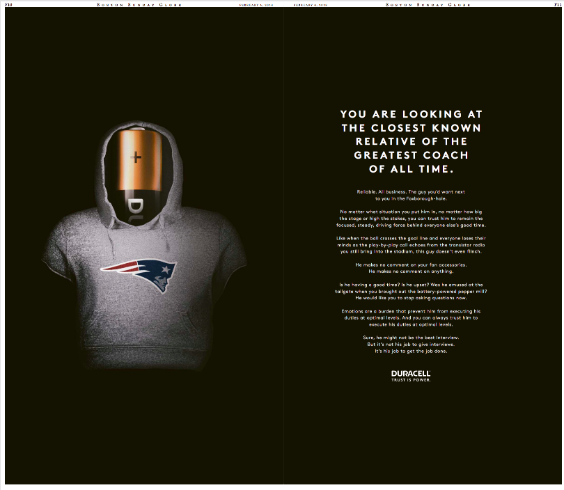 Globe Duracell Ad Commits Battery on Bill Belichick | It's Good to