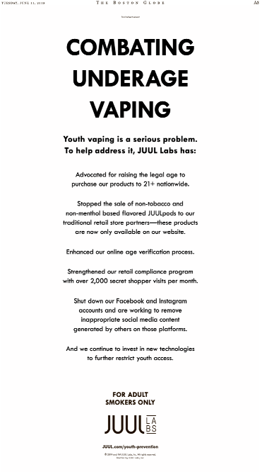 Juul's Vape-and-Switch of Boston Herald in Ad Blitz | It's Good to